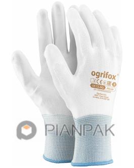 Rękawice ochronne OX-POLIUR – biało-białe